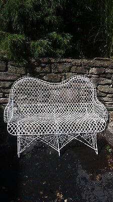 Decorative Victorian Vintage Antique Twisted Wire White Garden Bench Settee Seat