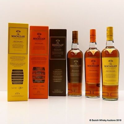Macallan Edition 1 and 2 and 3 Limited Discontinued Rare