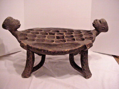 African Wood Mancala Songye Game Table Hand Carved w/ Heads & Seeds Vintage