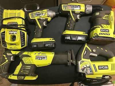 Ryobi 18-Volt ONE+ Lithium-Ion Kit (5-Tool + batteries/charger)