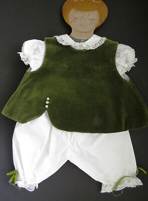 Baby Girls 3 Piece Pantaloon Set by Cherubs Sz 3 to 6 Months Green White Vintage