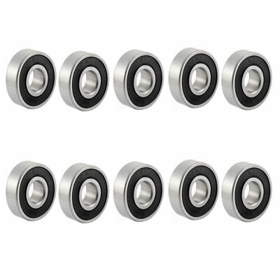 10 Pcs 6201-2RS 12mm Inner Dia 32mm OD Shielded Ball Bearing for Electric Motor