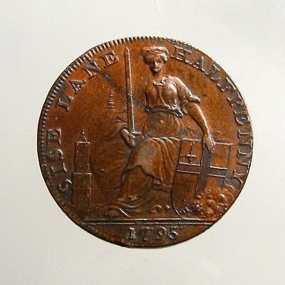 1795 COPPER HALFPENNY___Conder Token___MISTRESS OF THE METROPOLIS___London