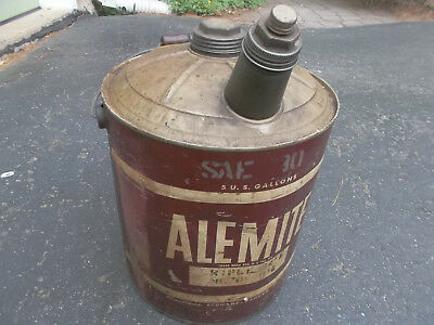 Vintage Alemite Stewart Warner 5 Gallon Motor Oil Can Dome Top Spout Gas Station