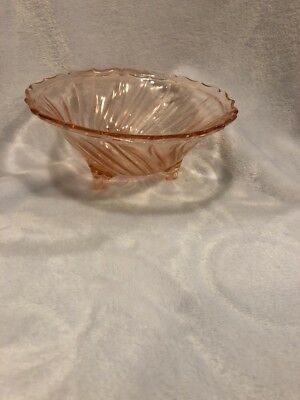 Vintage  Pink Depression Swirl Glass 3 Footed Bowl Scalloped Edge Perfect