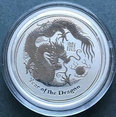 2012 50c Year of the Dragon 1/2oz Silver Bullion Coin In Capsule