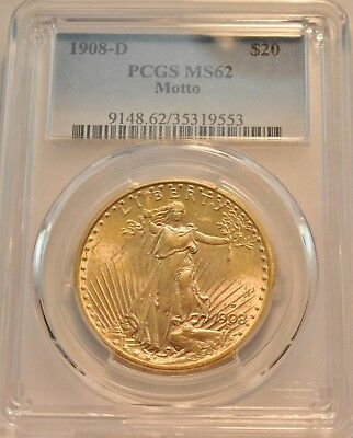 1908 D $20 PCGS MS 62 Gold St. Gaudens Double Eagle, Uncirculated Saint w/ Motto