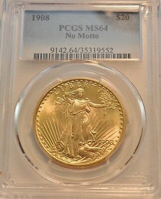 1908 $20 PCGS MS 64 Gold St. Gaudens Double Eagle, Uncirculated Saint Twenty