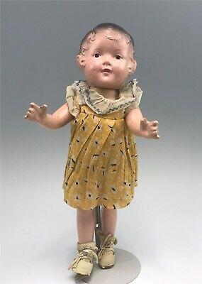 """Antique 16"""" Molded Hair Composition Doll, All Original"""