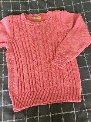 Girls Lily & Dan Candy Pink Sz 5 Cable Knit Jumper Worn Once
