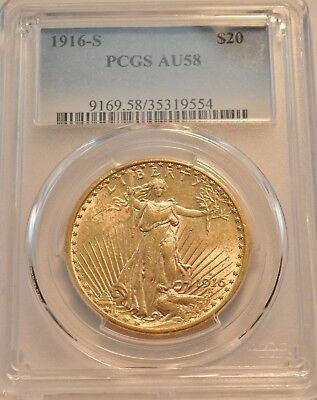 1916 S $20 PCGS AU 58 Gold St. Gaudens Double Eagle, AU/Unc Saint Twenty Dollar