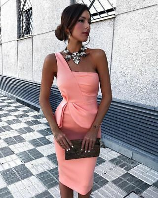 422664ca127 Pink One Shoulder Short Party Cocktail Dress Cheap Knee Length Prom Dresses  2018