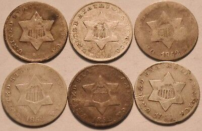 Lot of (6) Three Cent Silver Coins, 1851 1852, Scarce Type Coins, Nice 3CS Group