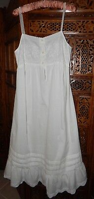 Vintage Wild Mint Pure White 100% Cotton Nightgown Nightie Empire Full Frill USA