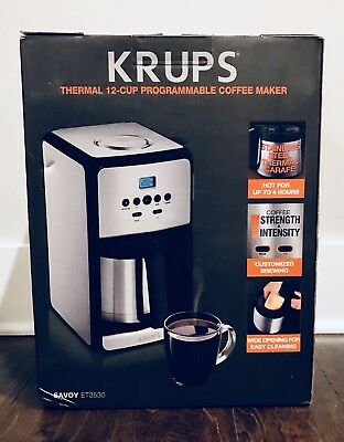New Krups Thermal 12 Cup Programmable Coffee Maker Stainless Steel