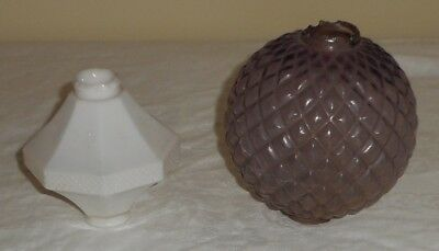 Lot 2 Lightning Rod Weathervane Balls Milk Glass Diddie Blitzen SCA Purple Quilt