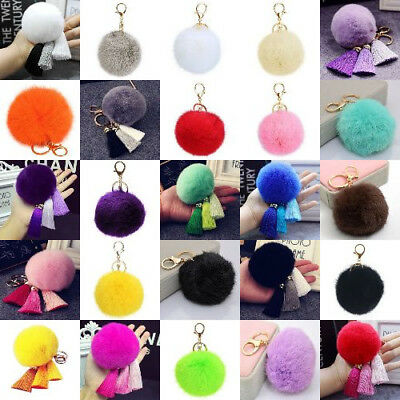 Cute Soft Rabbit Fur Pom Ball Tassel Pendant Charm Handbag Key-ring Key-chain