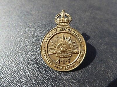 Ww1 Aif Anzac Australian Ras Returned From Active Service Brass Lapel Badge