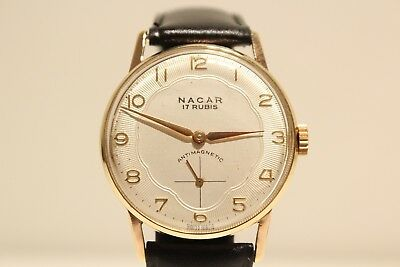 """Vintage Classic Gold Plated Swiss Men's Watch """"nacar"""" With Beautiful Relief Dial"""