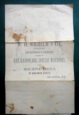 1883 antique WILHELM CO. HAT HARDWARE MACHINE CATALOG LEAFLETS reading pa TOOL