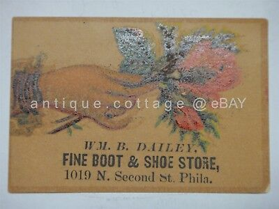 1880s antique DAILEY FINE BOOT & SHOE STORE philadelphia pa TRADE CARD ad PRICES