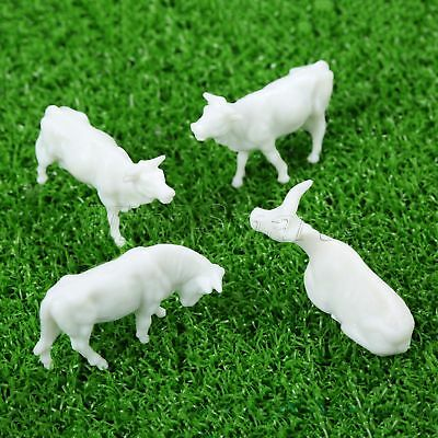 100pcs Plastic DIY Scene Layout Landscape 1:87 UnPainted White Farm Animals Cows