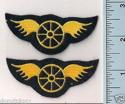 2 New Wheel w/ Wings Gold on Felt Police Motorcycle/Traffic Patches California
