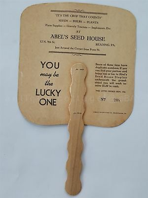 antique HAND FAN reading pa ABEL'S SEED HOUSE last supper FARM SUPPLIES PLANTS