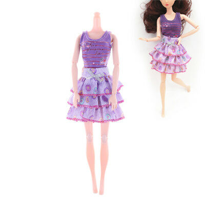 2Pcs Handmade Fashion Doll Party Dresses Clothes For Barbie Dolls Girls Gift WO