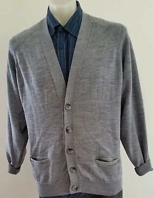 Mens Vintage 80s CASUAL GUY Wool Blend BLUE GREY V Neck Knitted CARDIGAN size M