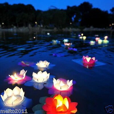 10/50/100X Floating Water Light Paper Lotus Flower Wishing Lamp Chinese Lanterns