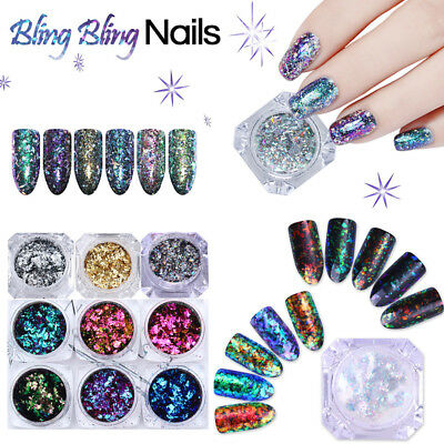 BORN PRETTY Chameleon Nail Glitter Sequins Gold Silver Irregular Flakes 3D Decor
