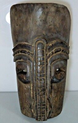 "Vintage Large Carved Ethnic Tribal African Wooden Mask, Approx 15"" x 9"" x 4"""