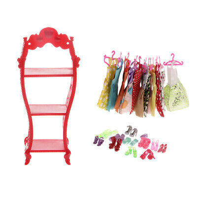 Bulk 12pcs Dresses+ 12prs Shoes and a Rack For Doll House Accessories