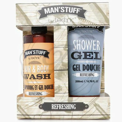 Man'Stuff Refreshing Gift Set - Birthday Dad Men Fathers Day Clean Wash Kit Face