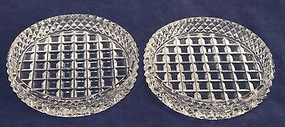 Pair of Vintage Cut Glass Butter Pats / Dishes - Hobnail - 7.5cm