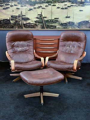 Pair of G mobel armchairs and foot rest - mid century armchairs