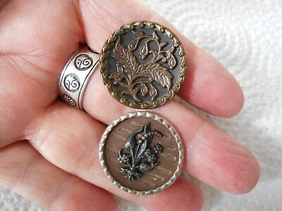 Antique/vintage Pair Of Victorian Metal Buttons With Flowers #338