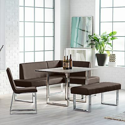 Corner Dining Set Breakfast Nook Table Bench Chairs Seating Kitchen Furniture