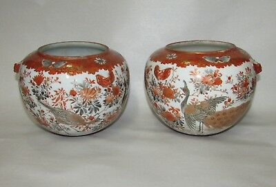 Pair Antique Japanese Kutani Porcelain Planters