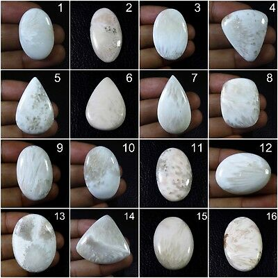 NATURAL SCOLECITE CABOCHON 46x38 mm OVAL WHITE LOOSE GEMSTONE FOR JEWELRY SC-24