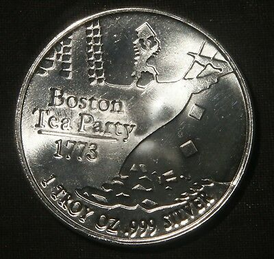 "Boston Tea Party 1 Oz .999 Silver Round ""don't Tread On Me""  Lot 160811"
