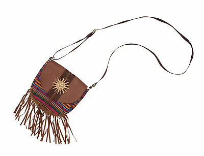Ladies 1960s 1970s Festival Hippy Bag With Tassels Fancy Dress Accessory