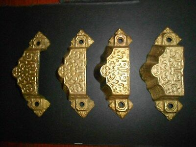 Victorian Bin Pulls - Matched set of 4 - Solid Brass