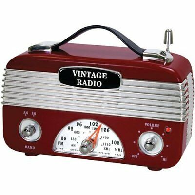 AM/FM Vintage Radio w/ Foldable Carrying Handles & Rotary Telescopic Antenna