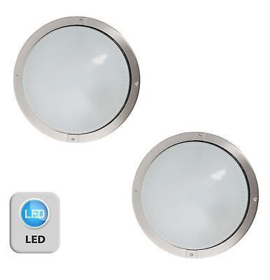 Pair of Stainless Steel & Glass LED Outdoor IP44 Round Garden Porch Wall Lights