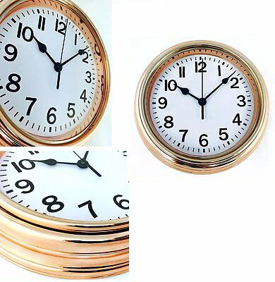22cm Electroplated Copper Colour Finish Wall Clock Vintage Style Kitchen Hallway