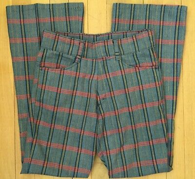 Vintage 70s SEARS PUT ON SHOP BOYS BLue Red Yellow PLAID FLARE PANTS 28 X 28