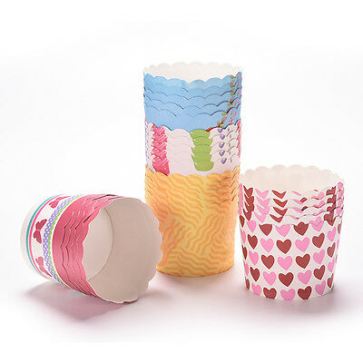 50Pcs Disposable Cake Baking Paper Cup Cupcake Muffin Cases Fit Home Party ED