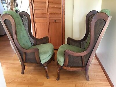 Pair of Beautiful Hollywood Regency Green Cane Tufted Back Chairs Hardly Used